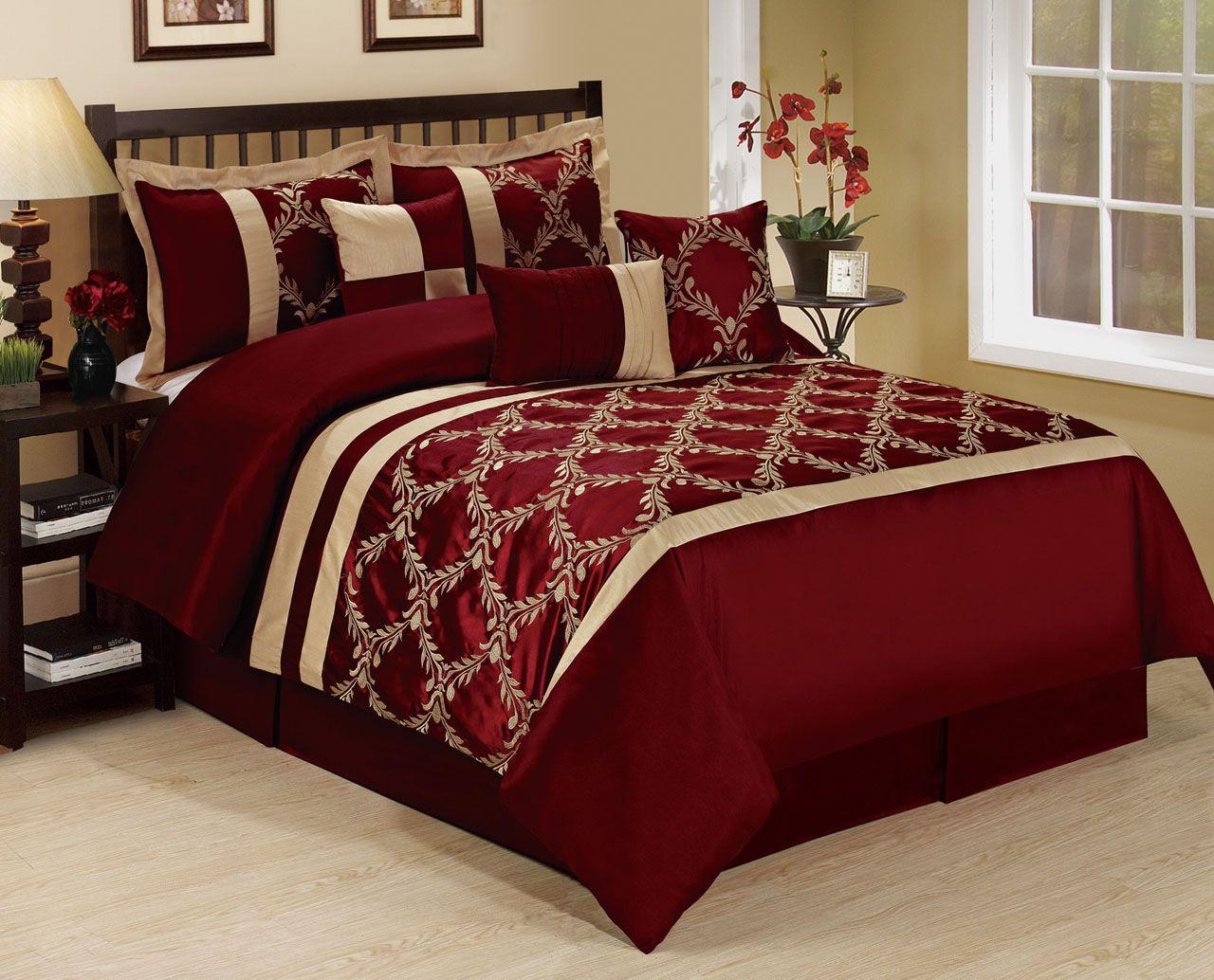 Luxury 7 Piece Comforter Set Elegant Embroidered Bedding Burgundy/Gold New.