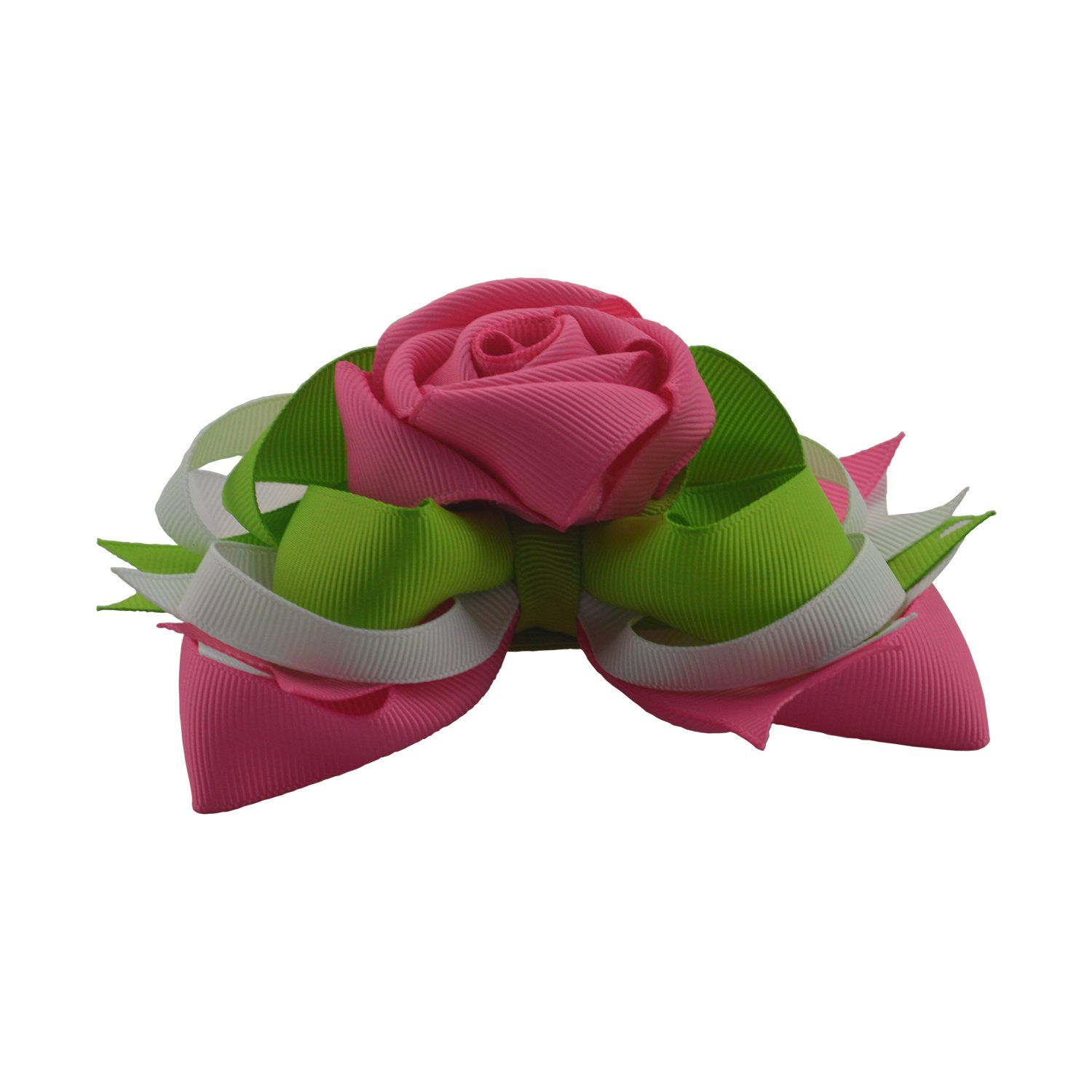 Rose flower hair bows inch big ribbon boutique bows clips for