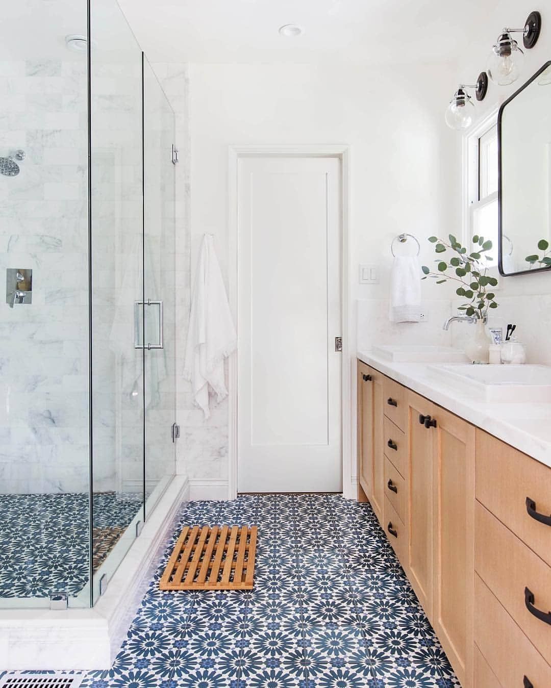 Cle Tile On Instagram Same Color Way Different Scale Equally Winning In 2020 Patterned Bathroom Tiles Trending Bathroom Colors Modern Bathroom Design