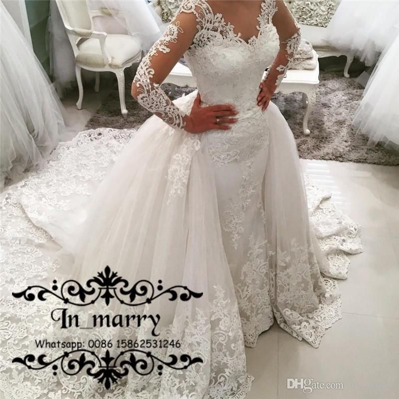 Traditional Wedding Gowns With Detachable Trains: 2017 Fall Plus Size Mermaid Overskirts Wedding Dresses