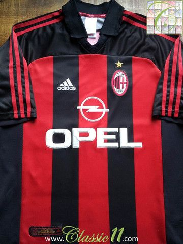 3164e382c Relive AC Milan's 2000/2001 season with this vintage Adidas home football  shirt.