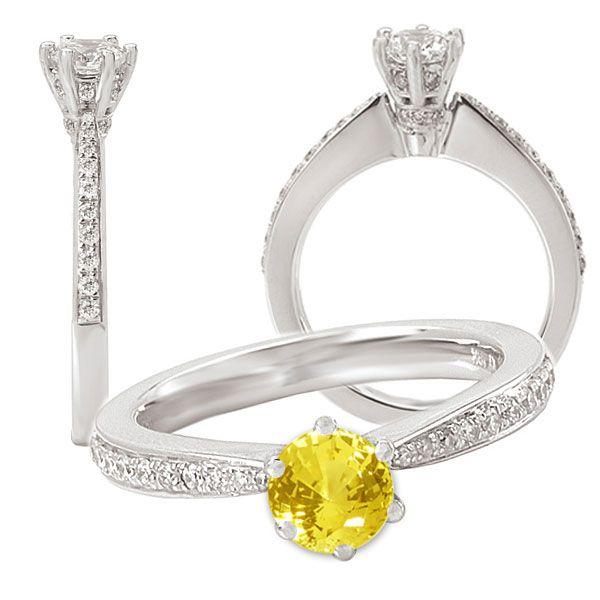 18k Lab-created 5.5mm Round Yellow Sapphire Engagement