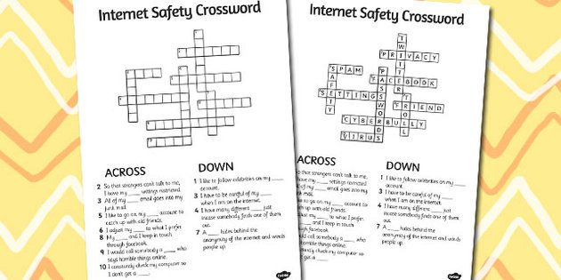 Internet Safety Crossword Internet Safety Crossword Words