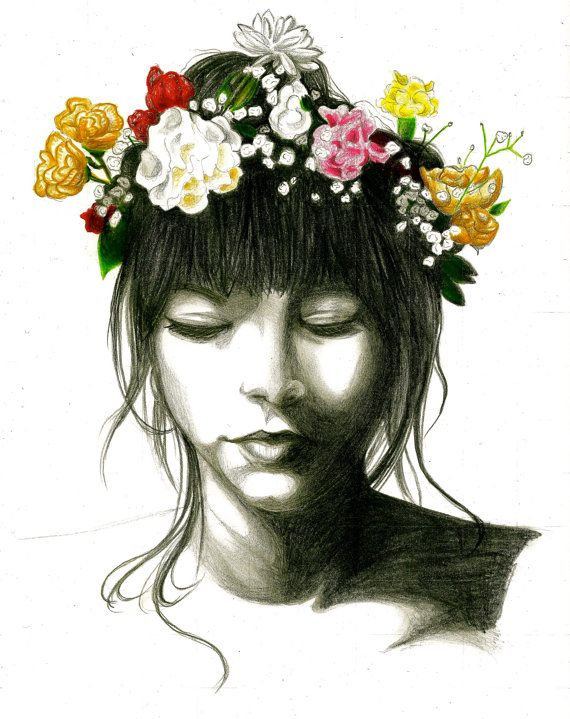 Girl with flower crown drawing - photo#29