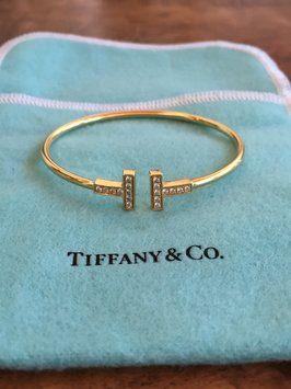 Tiffany Co 18k Yellow Gold W Wire W Diamonds Bracelet 50 Off Retail Tiffany T Wire Bracelet Bracelets