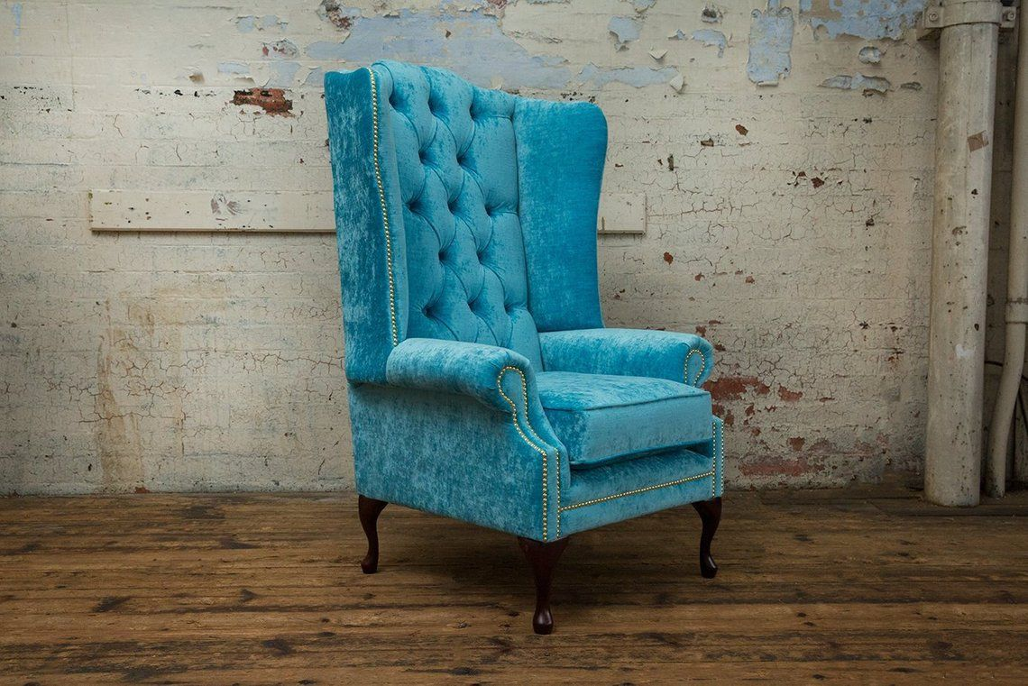 British Handmade Semi Crushed Velvet Chesterfield Highback Wing Chair Turquoise Wing Chair Chesterfield Sofa Design Chair