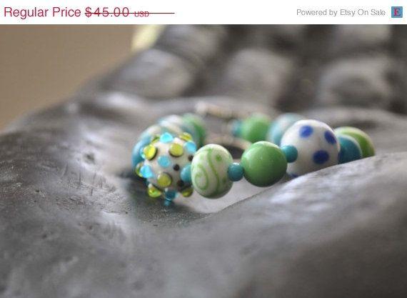 On Sale - Green Blue White Lampwork Bracelet  Glass Bead Bracelet by bstrung, $40.50