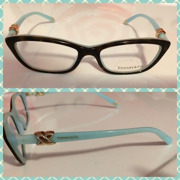 64eed8575013 🌼Final Price🌼New without tags Tiffany 2074-Cat eye. frames only. 8199-  color brown tortoise with Tiffany blue. Signature gold x s on each side.