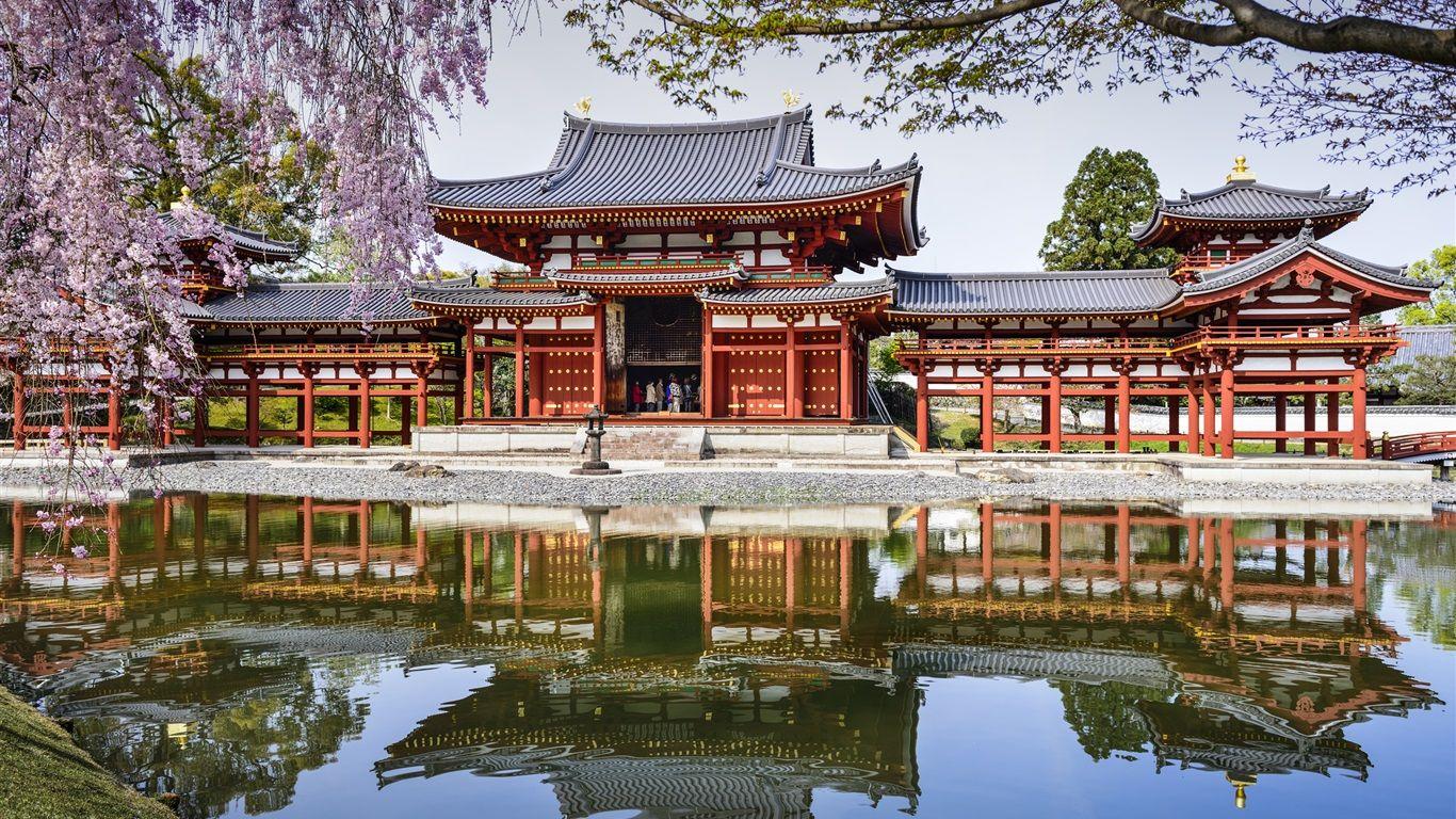 byodo in temple japon tang r flexion ressort cerise fonds d 39 cran asie pinterest. Black Bedroom Furniture Sets. Home Design Ideas