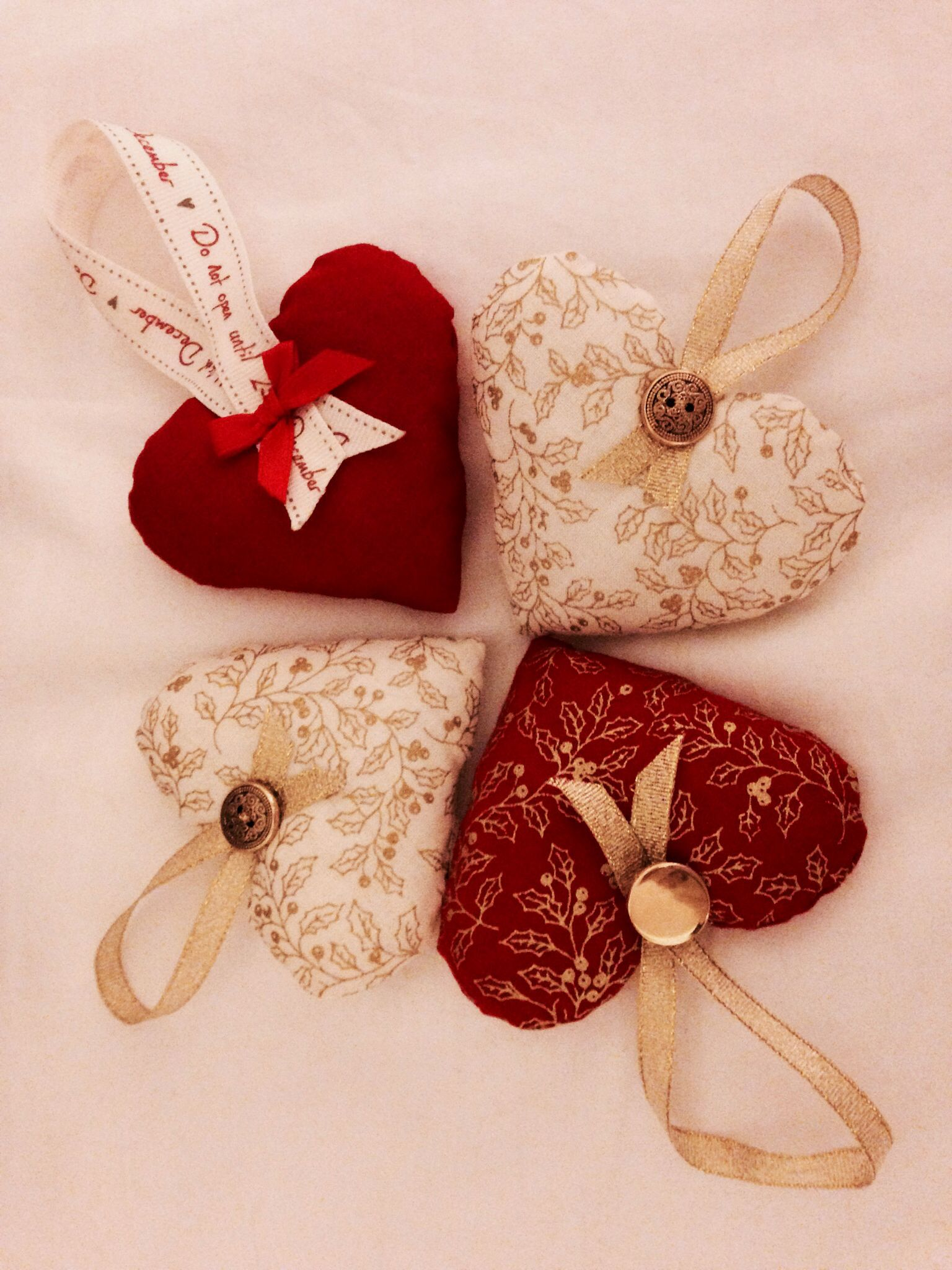 Multiple Diy Hanging Heart Christmas Tree Decorations, With Button And