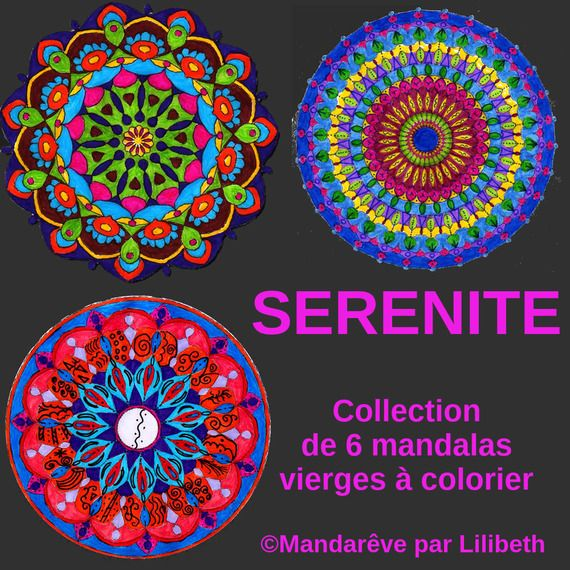 Collection of 6 blank mandalas to print and color with 1 free. Collection de 6 mandalas vierges ...