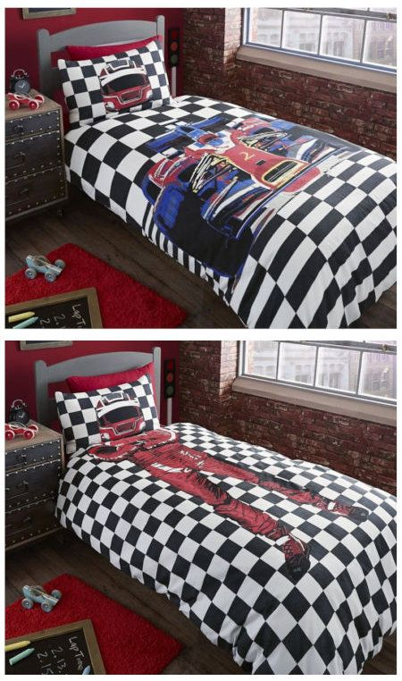 Black White Checkered Race Car Bedding Twin or Full Duvet Cover ... : car quilt cover - Adamdwight.com
