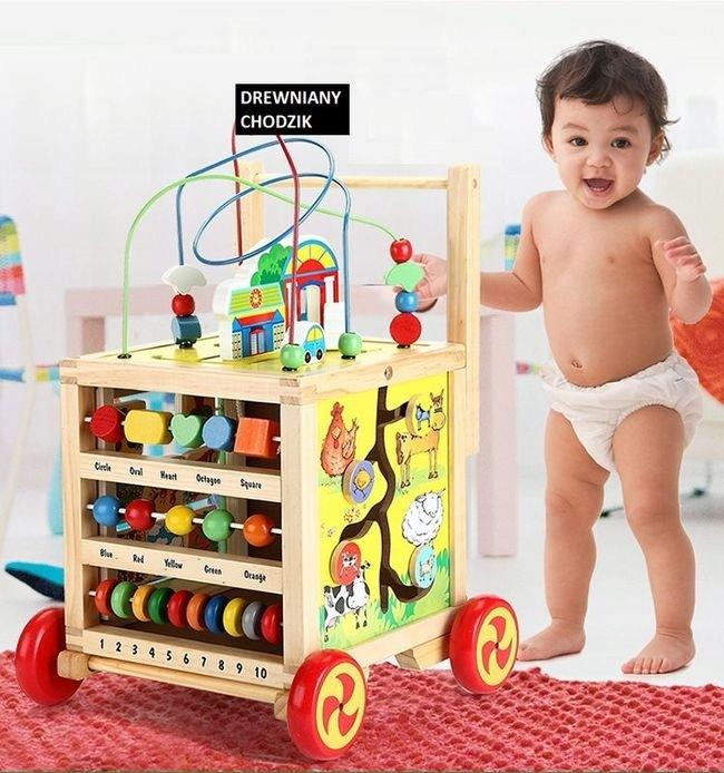 Drewniany Chodzik Pchacz 6w1 Kostka Edukacyjna Hit 7663567608 Oficjalne Archiwum Allegro Walker Toys Wooden Baby Walker Wooden Push Toys