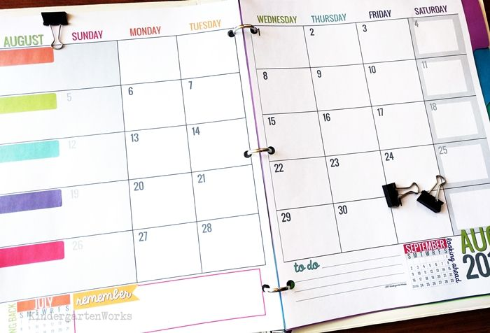 Printable  Teacher Planning Calendar Template  Teacher