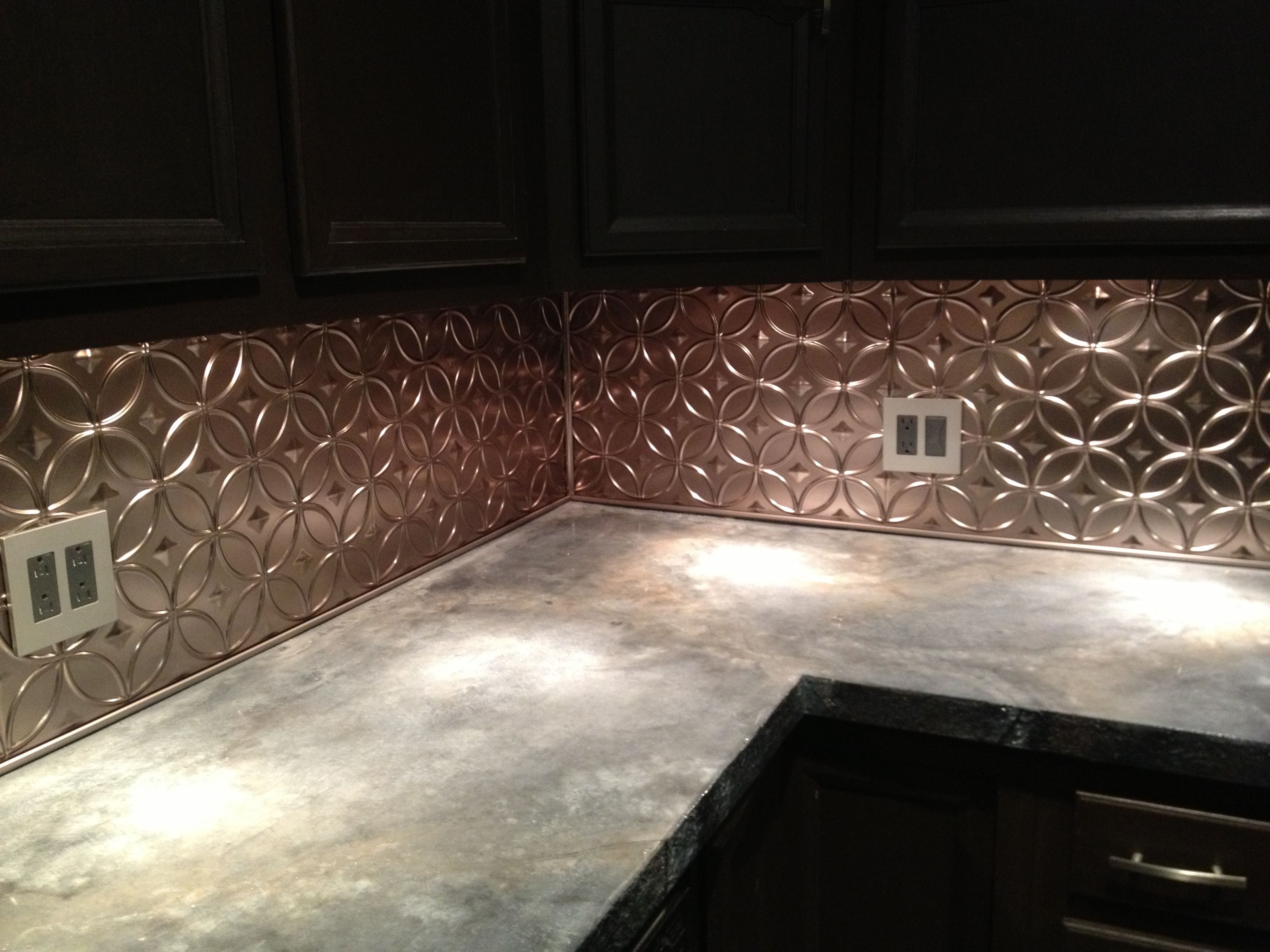 diy concrete countertop and new tin backsplash! it's finally done