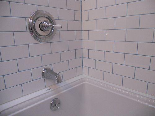 White Tiles Blue Grout Fabulous Blue Bathroom Tile Large