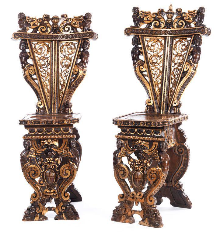 Pair Of Late Italian Renaissance Sgabelli Renaissance Baroque Furniture Italian Artwork