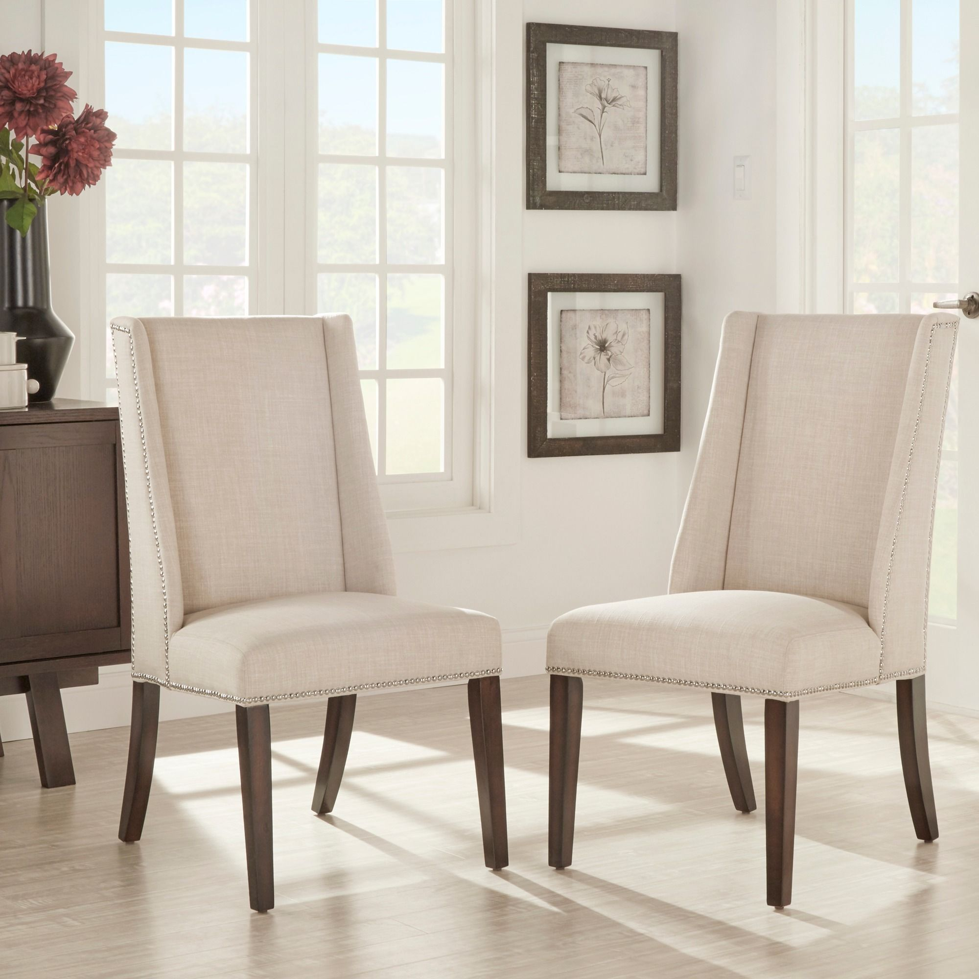 Inspire Q Geneva Linen Wingback Hostess Chairs Set of 2 Tan
