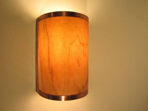Rustic Wall Sconce Light Copper with Cherry Wood Electric