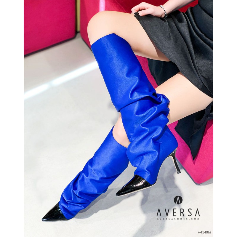 Aversa Stivale Praga in raso bluette Aversa Shoes S.r.l