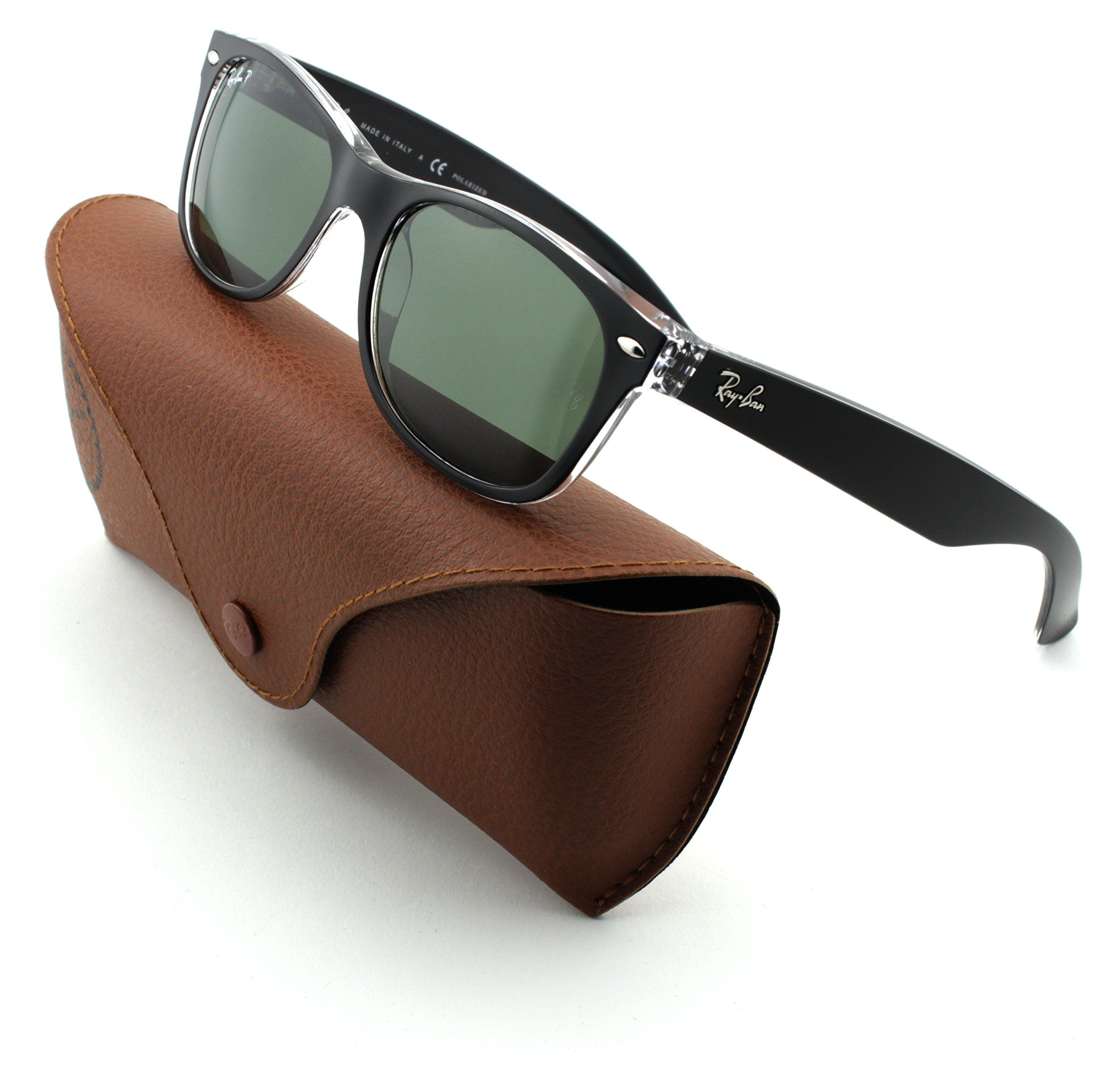 5024a51921 Ray-Ban RB2132 New Wayfarer Unisex Sunglasses (Black on Trasparent Frame  Green  Polarized Lens 605258