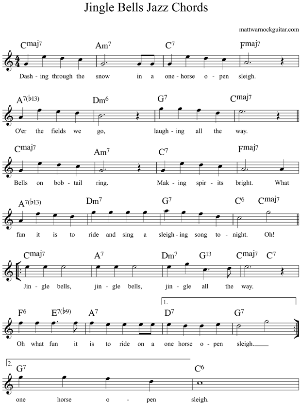 Jingle Bells Guitar Chords 4 | Music | Pinterest | Guitar chords ...