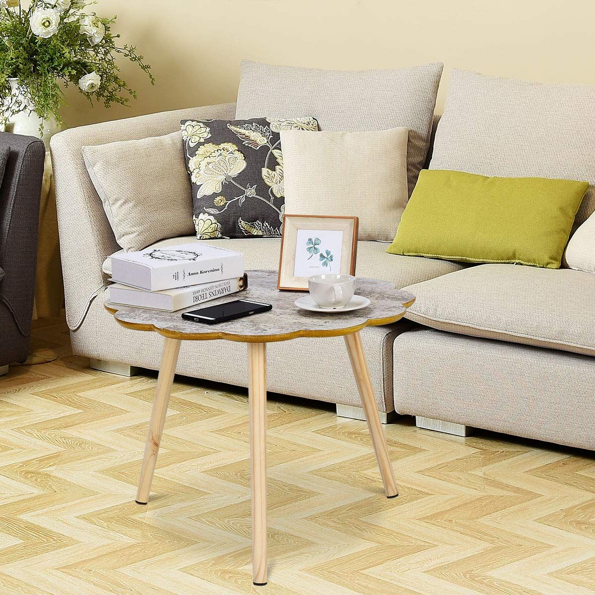 High Quality Mdf Tabletop Is Robust And Solid Wood Legs In Tripod Structure Keeps The Table Steady Providin Coffee Table Sofa Side Table Coffee Table Pictures