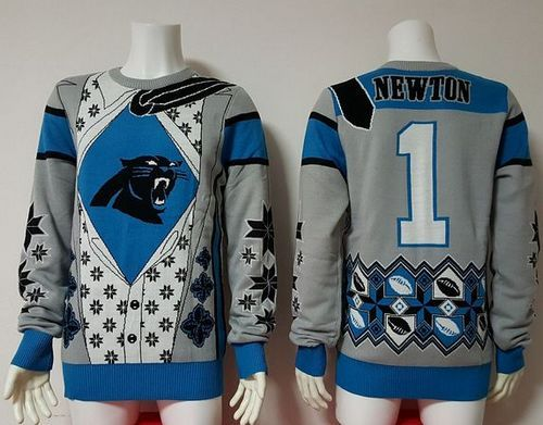best sneakers 61d07 e7a62 Nike Panthers #1 Cam Newton Blue/Grey Men's Ugly Sweater ...