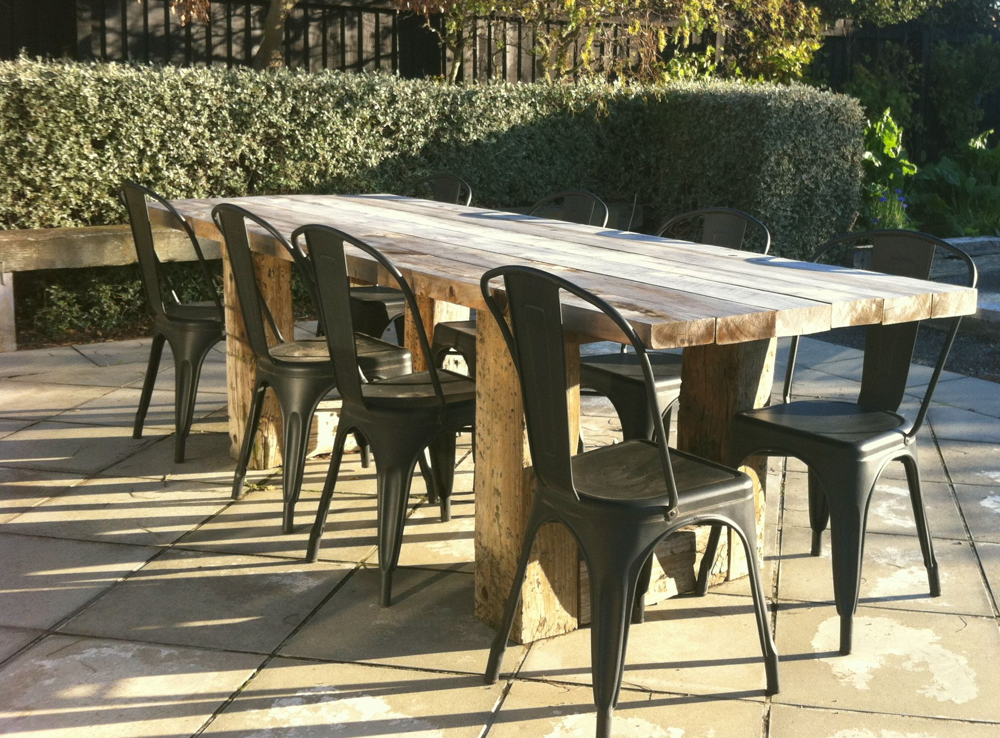 outdoor rustic table design works group office landscape