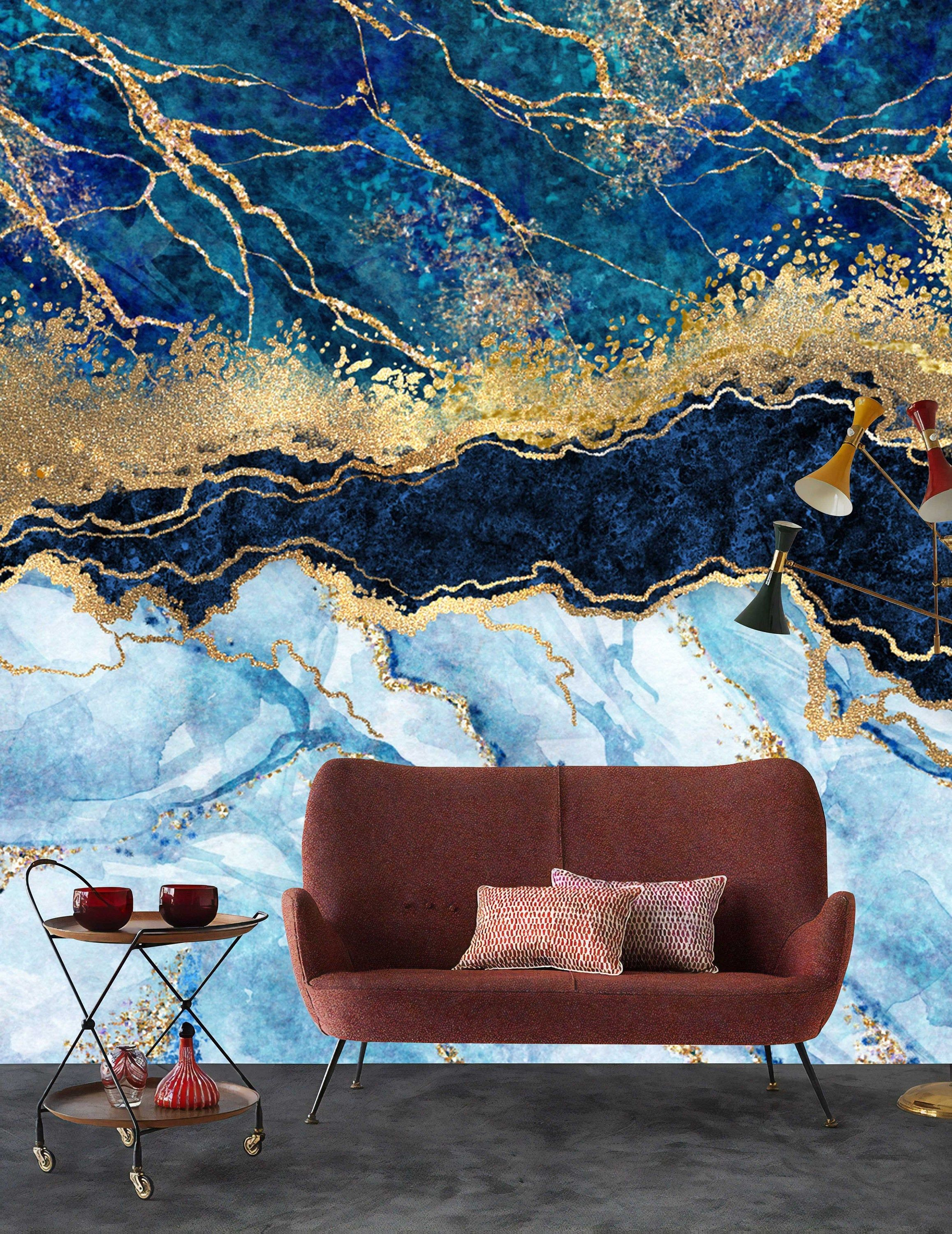 Marble Abstract Design Shades Of Blue Gold Yellow ...