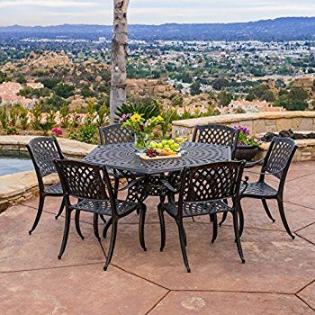 amazon com hammond outdoor 7pcs bronze cast aluminum dining set