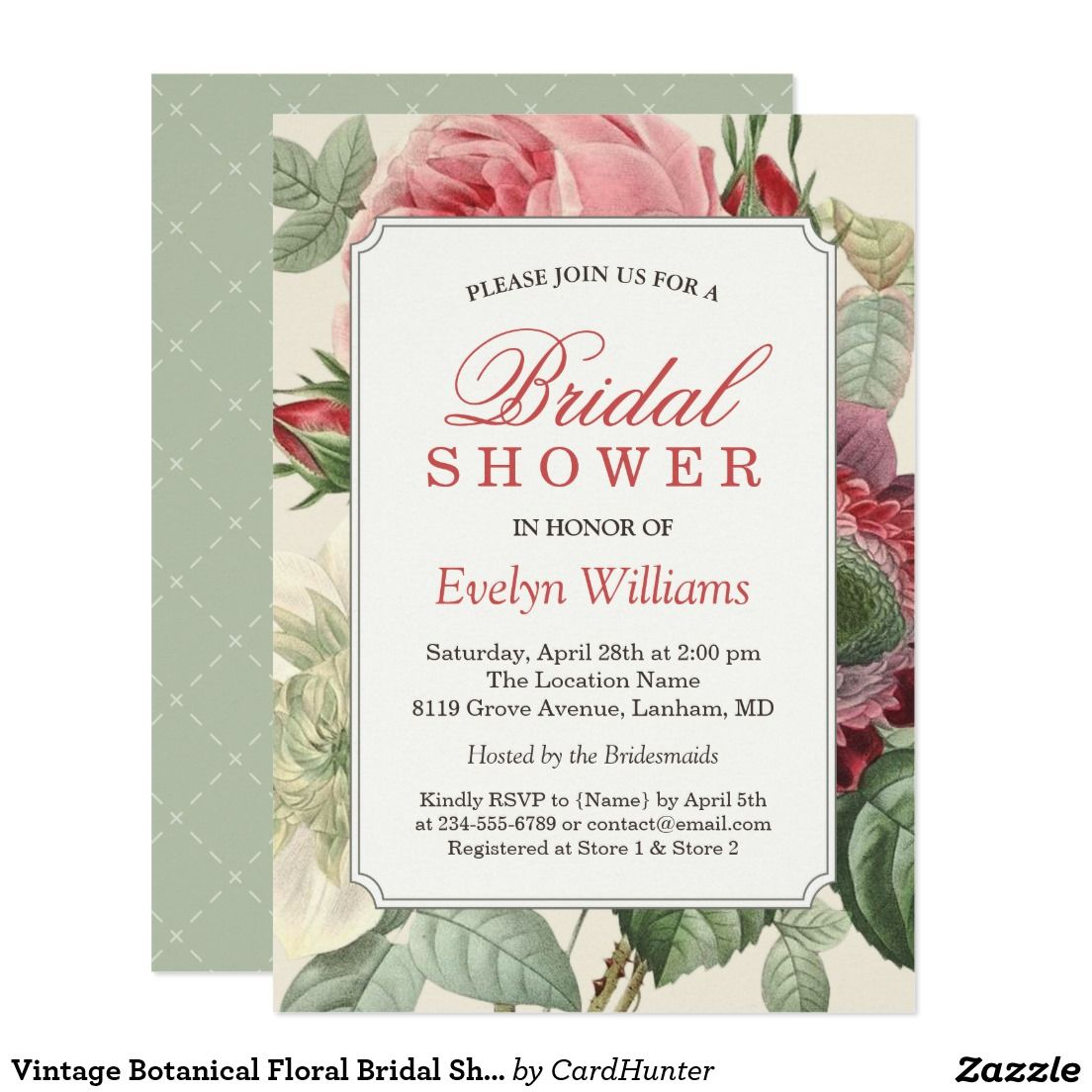 Vintage Botanical Floral Bridal Shower Invitation Bridal Shower