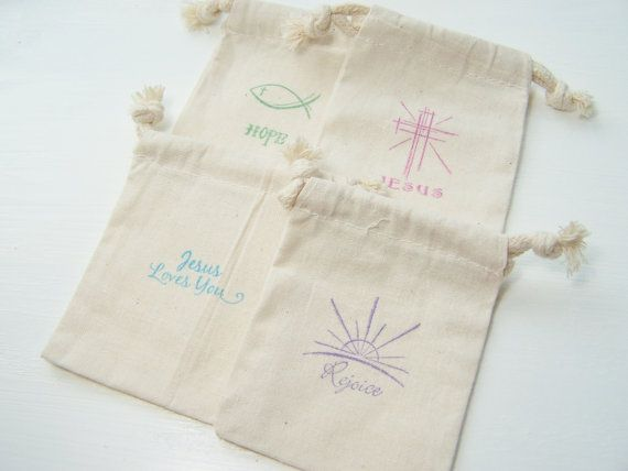 4 Muslin Gift Bags Easter Themed Gift Bags Spring by WitsEndDesign, $4.75