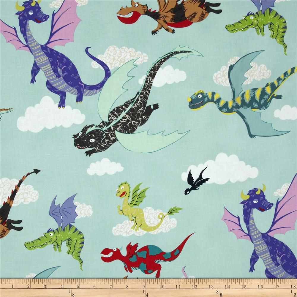 Monkey's Bizness The Dragons Light Seafoam | Painted carriers ... : dragon fabric for quilting - Adamdwight.com