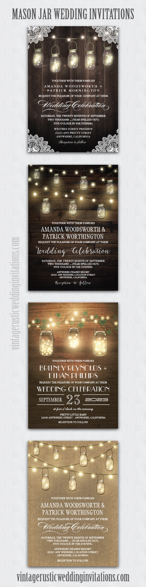 Mason Jar Wedding Invitations Barn Wood Burlap String Lights And