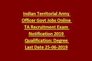 Indian Territorial Army Officer Male Female Govt Jobs Online Ta