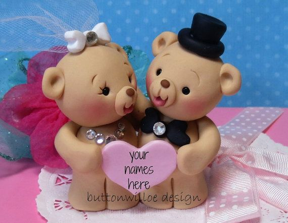 Sweet Teddy Bear Wedding Cake Topper Bride And Groom Anniversary