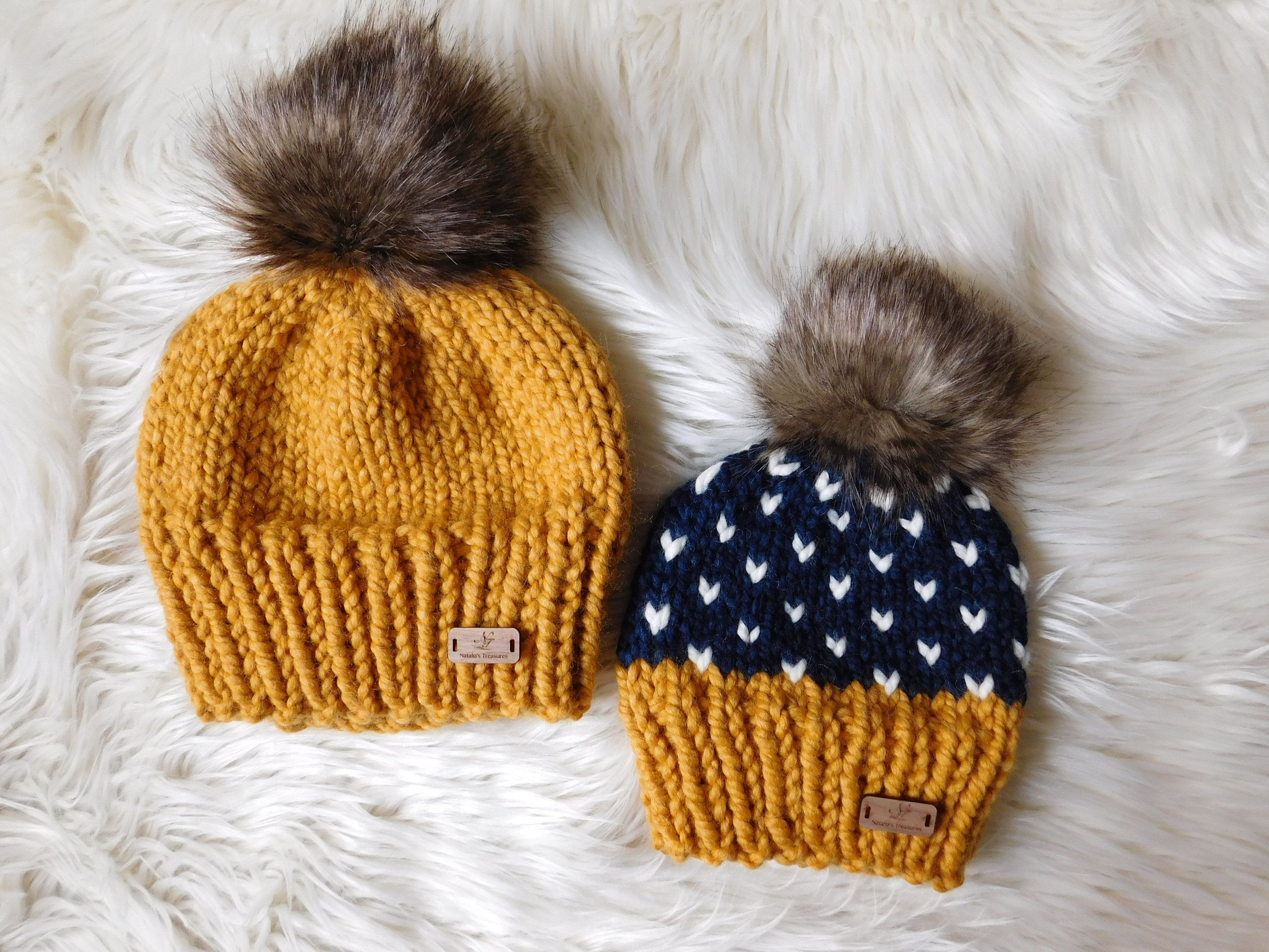 Personalised Custom Luxury Kids Toddler Child Double Pom Pom Chunky Woolly Hat