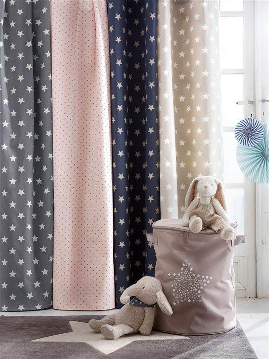Rideau imprim en coton avec oeillets bleu grise etoiles for Dekoration madchenzimmer