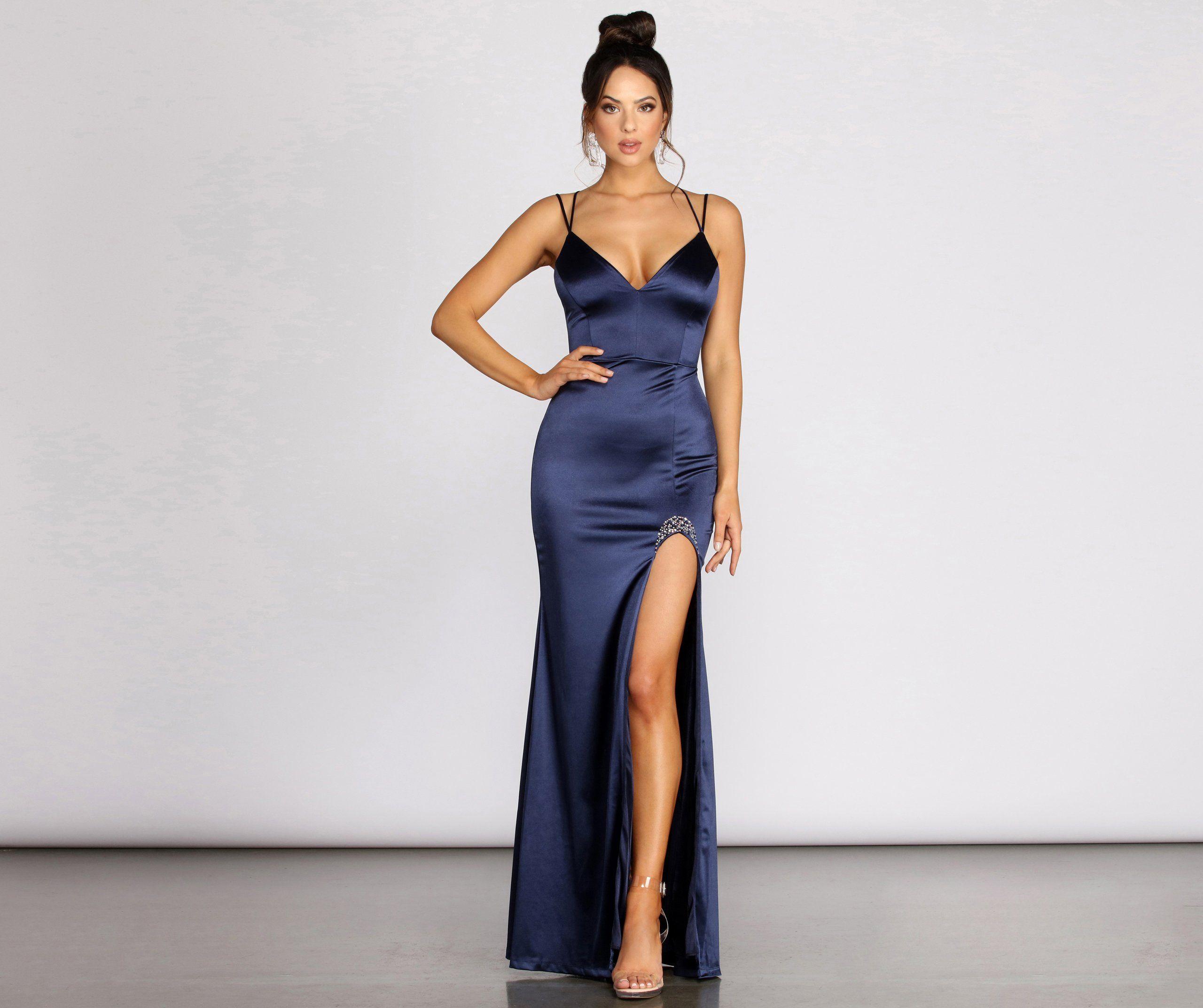 Caroline Formal Satin Rhinestone Dress Satin Formal Dress Dresses Lattice Dress [ 2145 x 2560 Pixel ]