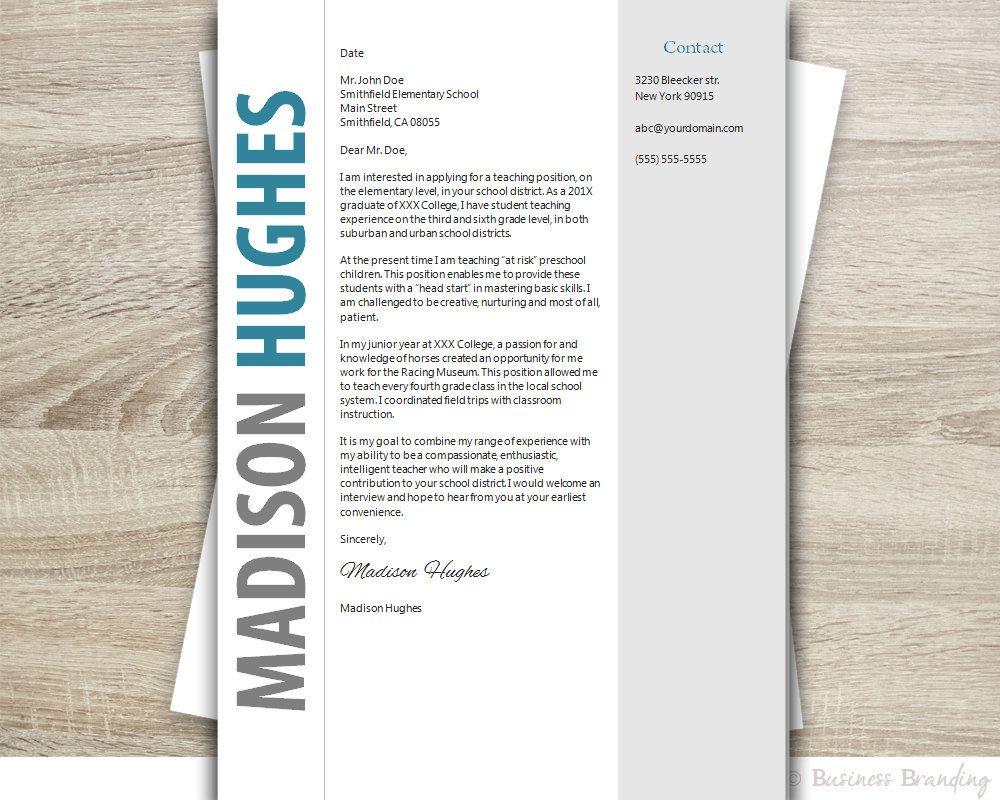 Teacher Resume Template Word  Cover Letter By Businessbranding