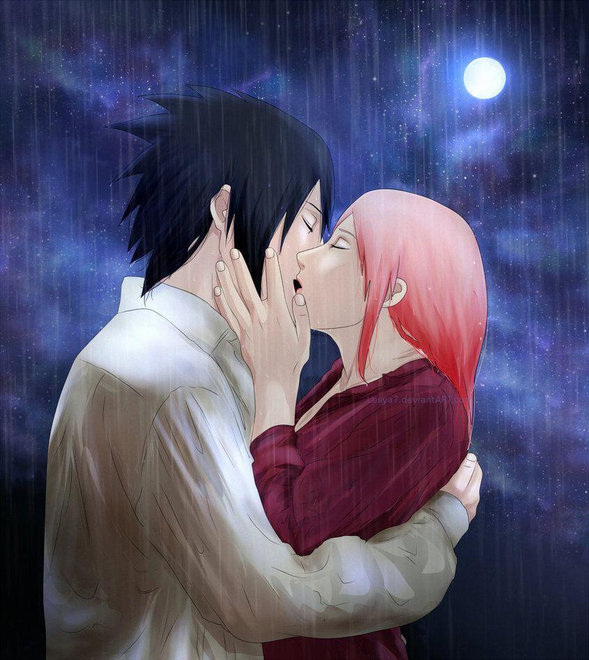 Sasusaku Kiss Under The Rain By Lesya7 Deviantart Com On Deviantart Sasusaku Under The Rain Sakura And Sasuke
