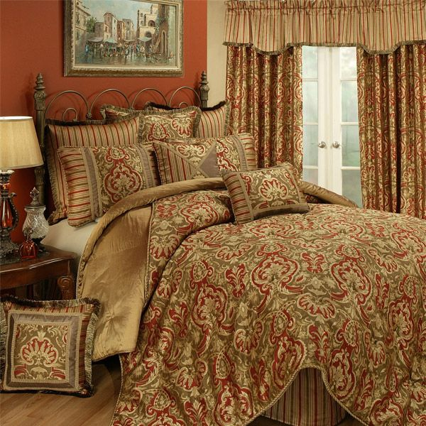 Botticelli Gold And Red 4 Piece Comforter Set By Austin