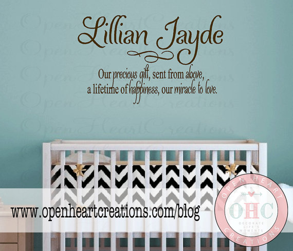 Baby Nursery Wall Sayings Quotes Name Vinyl Decals Large 22h X 36w Ba0016
