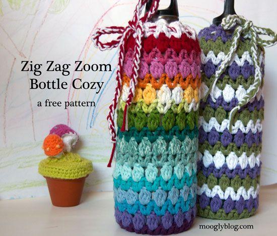 Free Pattern Zig Zag Zoom Bottle Cozy Botella de agua de acero