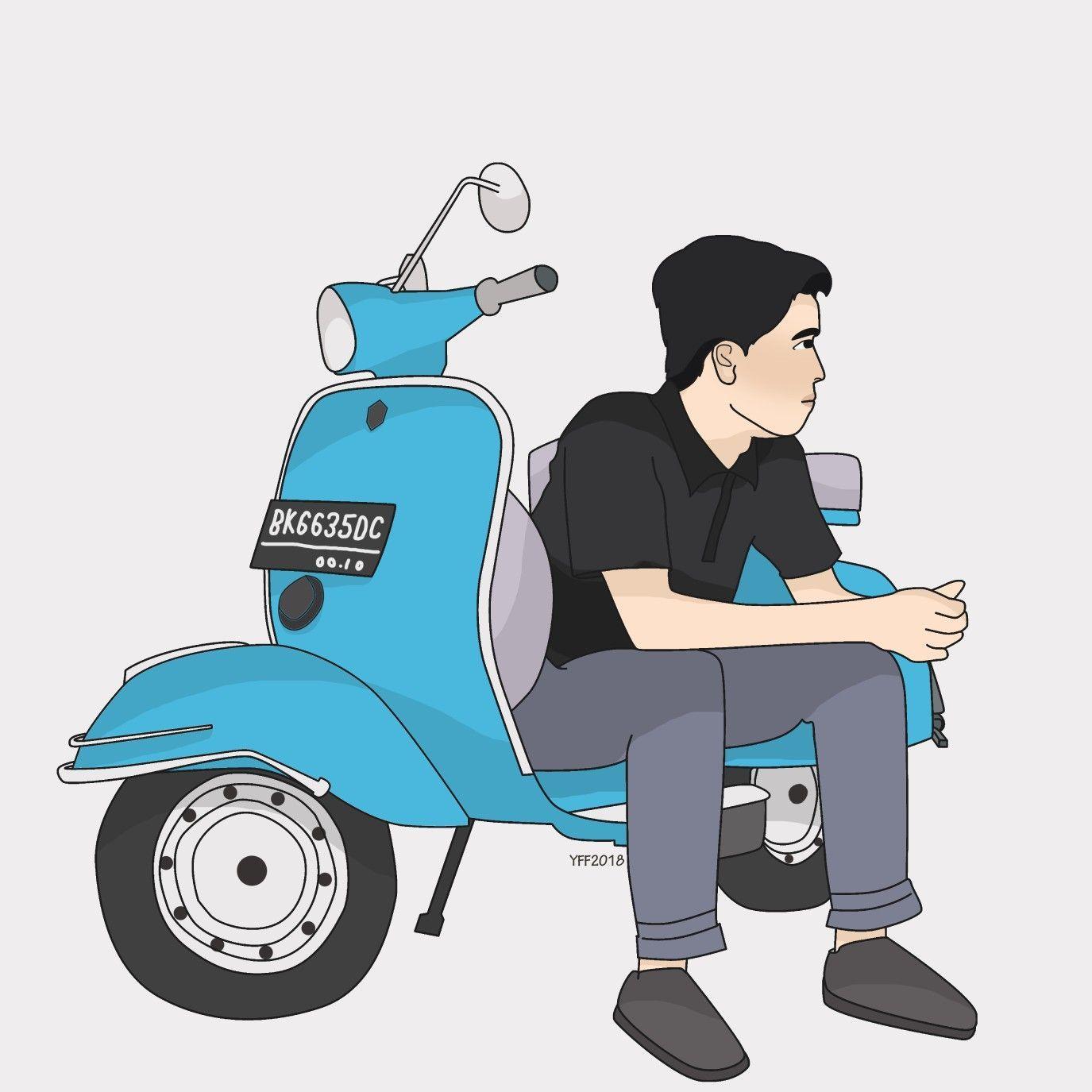 Gambar Motor Vespa Karikatur Rosaemente Com Ilustrasi Karakter Gambar Kartun Seni Kartun