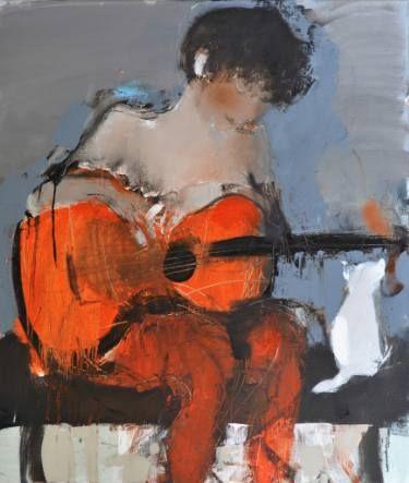 "Saatchi Art Artist HYZHY OLEH; Painting, ""women end cat"" #art"