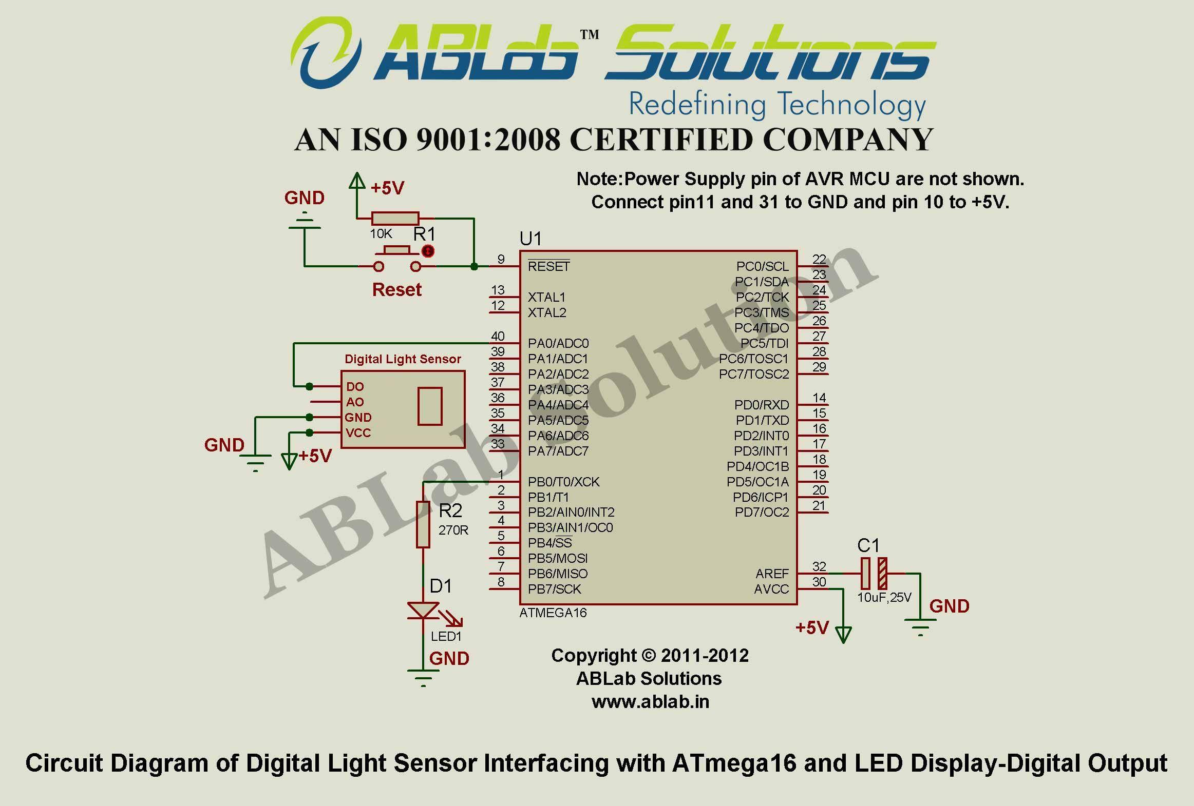 Digital Light Sensor Interfacing With Avr Atmega16 Microcontroller Led Display Circuit Diagram And Output Ablab Solutions