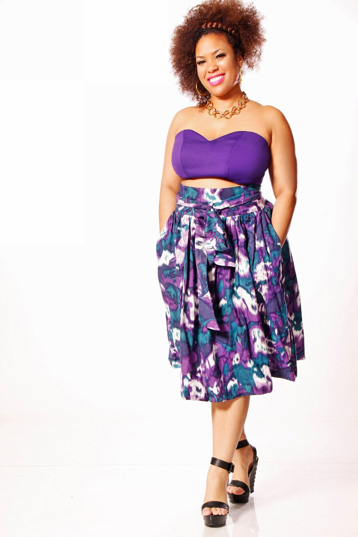 01e006d3749 JIBRI Plus Size High Waist Flare Skirt (attached wrap belt).  130.00 ...