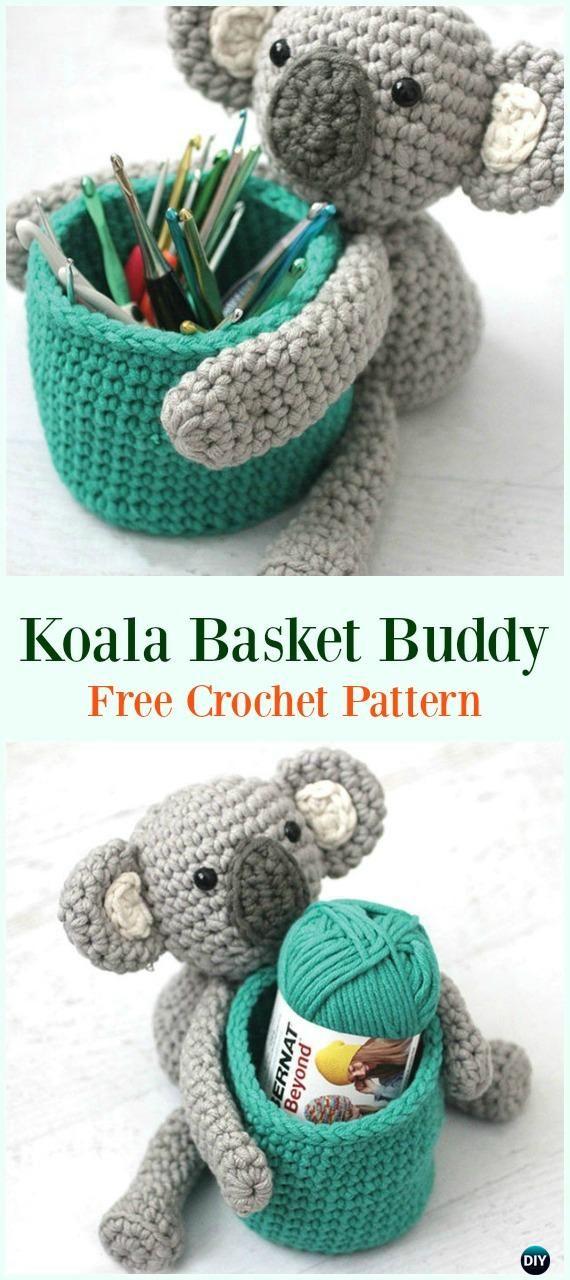 Crochet Bernat Koala Basket Buddy Free Pattern-#Crochet #HookCase ...